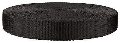 1 1/4 Inch Black Super Heavy Polypro Webbing Closeout, 25 Yards