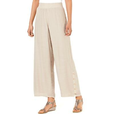 JM Collection Womens Button Detail High-Rise Pull-On Wide Leg Pants BHFO 0542