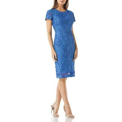 JS Collections Womens Blue Cap Sleeves Knee-Length Cocktail Dress 4 BHFO 1440