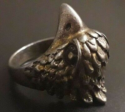 Unique Silver Ancient Viking Ring Norse Warrior Amulet Rare Eagle Head Antique