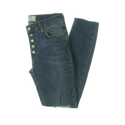 Free People Womens Reagan Blue Destroyed Ankle Skinny Crop Jeans 25 BHFO 9605
