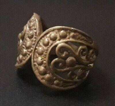 Ancient Wearable Old Ornament Very Rare Find Viking Antique Ring Bronze Unique
