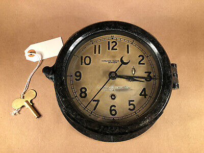 Chelsea Clock, Black With Brass Faceplate