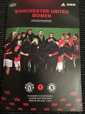 Manchester United Women v Chelsea Programme - Conti Cup S/F - 29 January 2020