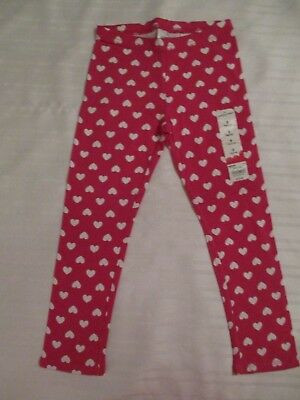 Girls Size 5 Leggings Jumping Beans Bright Pink White Heart Cotton