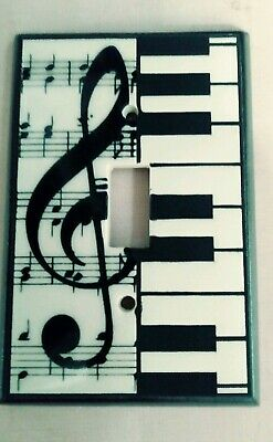 All Fired Up Ceramic Switchplate Single Toggle Wall Plate Music Class Piano keys