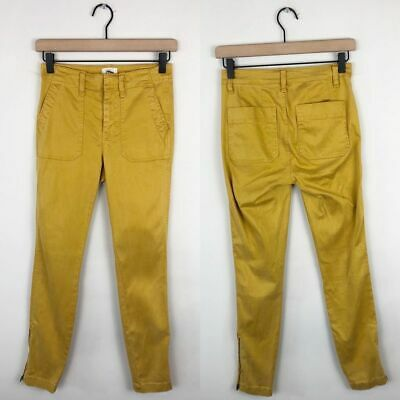 J. Crew Zip Ankle Skinny Cargo Pants Women's Size 24 Mustard Yellow