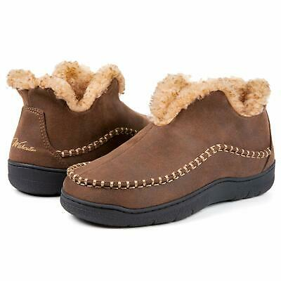 Wishcotton Mens Microsuede Fuzzy Warm Fleece Lining Moccasin Slippers Cozy