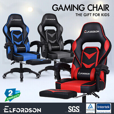 ELFORDSON Gaming Chair Office Seat Executive Padding Footrest Racing Leather
