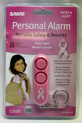 Sabre Personal Alarm Keychain Pink 110 dB Siren Audible Up to 300 Feet