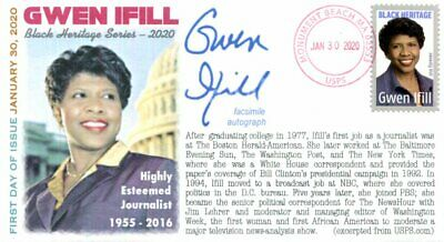 """COVERSCAPE computer generated """"Gwen Ifill"""" (Black Heritage) Forever 2020 U/O fdc"""