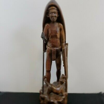 """Hand Carved 18"""" Folk Art Man With Spear, Shield And Dog Solid Wood 6lbs"""