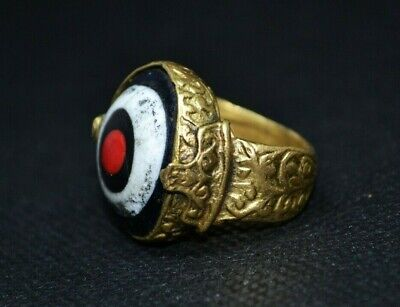 "Late Roman Style Bronze Intaglio Signet Seal ""Evil Eye Ring Stunning Top Quality"
