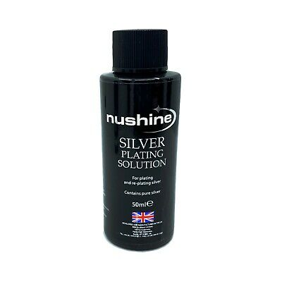 NUSHINE SILVER PLATING SOLUTION 50ml - PLATE METALS WITH REAL SILVER - USA SHIP