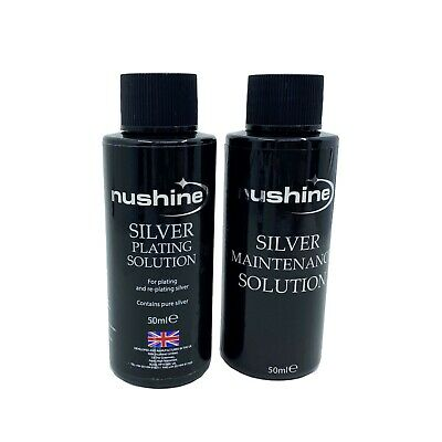 NuShine Silver Cleaning Maintenance and Plating Solutions 50ML Silver Plate USA