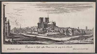 Paris Notre-Dame Cathedrale cathedral Israel Silvestre etching Kupferstich vue