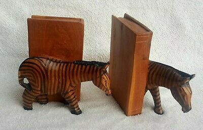 Hand Carved & Hand Painted Zebra Bookends made in Kenya Collectable