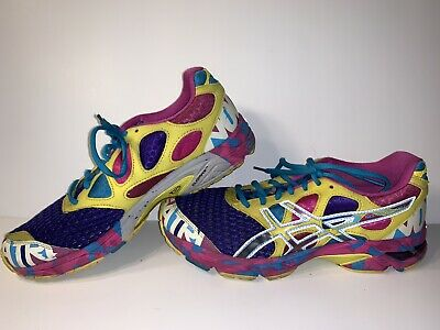 ASICS GEL Noosa Tri 7 Purple Yellow Athletic Running Shoes Womens Size 10 T264N