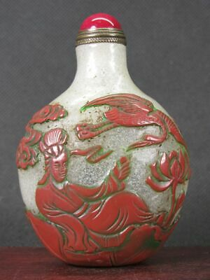 Chinese Two Woman Carved Peking Overlay Glass Snuff Bottle