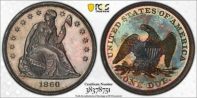1860 PCGS PR63 Seated Trade Dollar Colorful Toning
