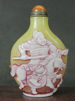 Excellent Chinese Ancient General Carved Peking Overlay Glass Snuff Bottle