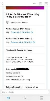 Wireless Festival 2020 - Saturday Day Ticket