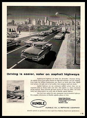 1958 Humble Oil & Refining Asphalt Sales Division Highway Houston Texas Print Ad
