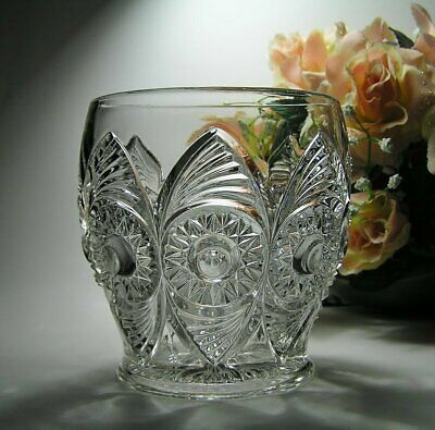 "Antique US GLASS Co SUGAR BOWL ""Bulls Eye & Fan"" #15090 EAPG c1900 or great VASE"