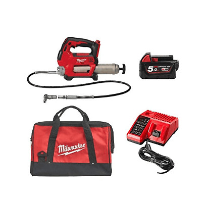 Milwaukee 18v Grease Gun Kit M18GG-501B With 1 x M18B5 Battery Charger and Bag