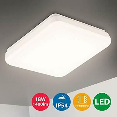 Oeegoo LED Lampara de techo 18W, IP54 Impermeable Plafon (18w Ip54 Cuadrado)