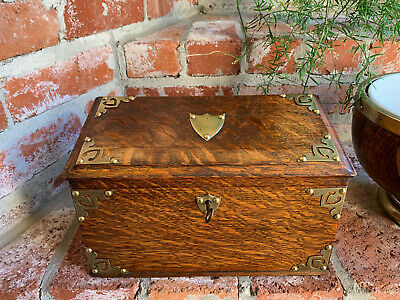 Antique English Tiger Oak Desk Letter Campaign BOX  Brass Jewelry British