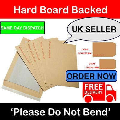 A6 C6 SIZE HARD BACK CARDBOARD PLEASE DO NOT BEND ENVELOPES MANILLA BROWN 122GSM