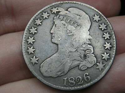 1826 Capped Bust Half Dollar- Fine Details, Full Date