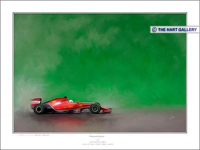 Fernando Alonso Ferrari Formula One F1 Racing Car Print Picture Signed Ltd Ed