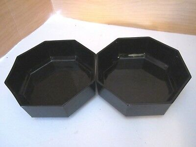 """Set of 2 Black Glass Octime Octagon ~ Arcoroc France~ Cereal Soup Bowls ~ 5 5/8"""""""