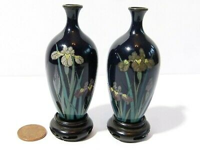 Antique Pair of Miniature Cloisonne Enamel Japanese Vases Carved Wood Stands 3""
