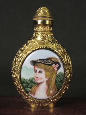 Fine Chinese Two Western Girl Hand Painted Copper Enamel Snuff Bottle