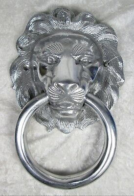 Large Silver Metal Lion Head Door Knocker India Unused 9 x 6 inches