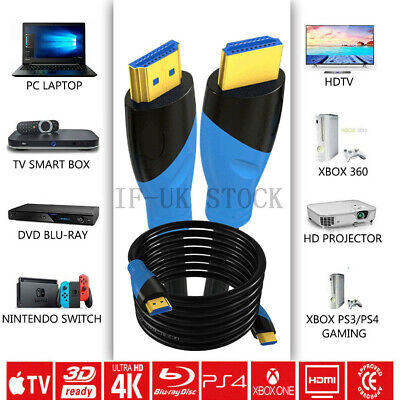 Premium 4k Hdmi Cable 2.0 High Speed Gold Plated PVC Lead 1080p 3D HDTV UK