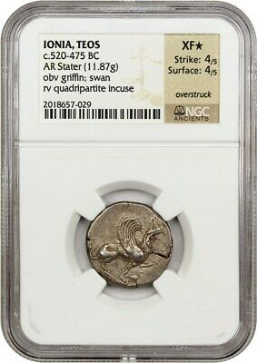520-475 BC Teos AR Stater NGC XF Star (Ancient Greek)