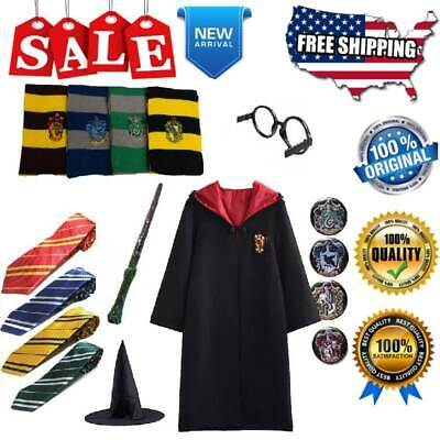 Harry Potter Magic Cloak Cosplay Full Costumes Set Robe Tie Scarf Wand Glasses