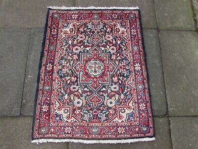 Vintage Hand Made Traditional Rug Oriental Wool Blue Red Small Rug 87x70cm