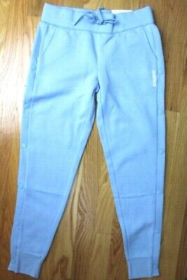 """Justice Girls' Size 12 Decorative Side Snap Blue Joggers  - """"Justice"""" Graphic"""