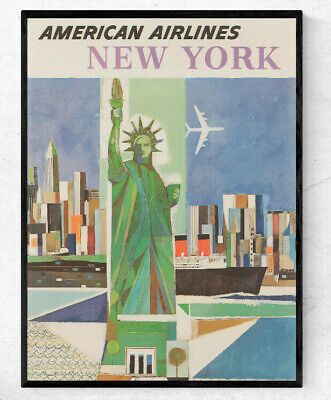 NY03 VINTAGE NEW YORK UNITED AIR LINES TRAVEL A4 POSTER PRINT