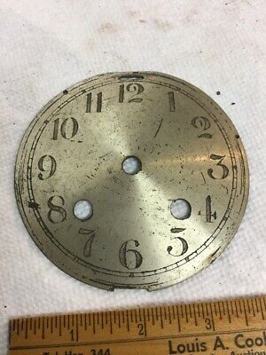 "Antique 4"" Clock Dial Silvered Metal For Time & Strike 2 Key Wind Seth Thomas"