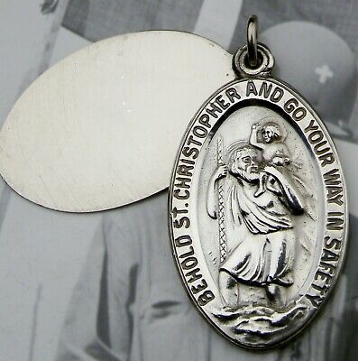 RARE Vintage WWII Chaplin Sterling St Christopher Catholic I.D. Protection Medal