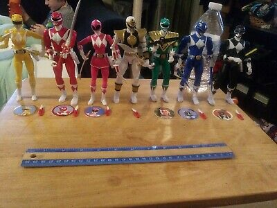 "AD Power Rangers 6.5"" Pink Yellow Green White  Ranger Legacy ? Figure Lot of 7"