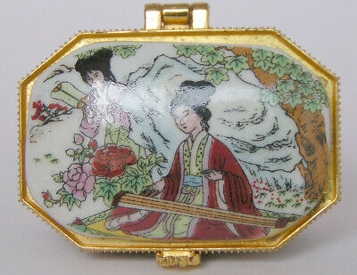Porcelain Jewelry box painted ancient Chinese girl playing piano in landscape QQ
