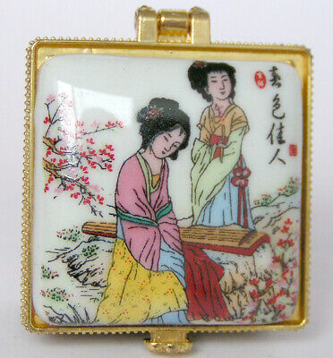 Porcelain Jewelry box painted ancient Chinese beauty girls in spring landscape
