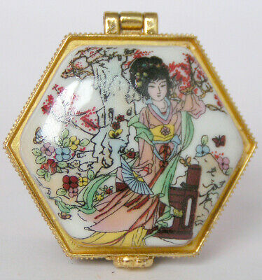 Porcelain Jewelry box painted ancient Chinese beauty girls dancing in landscape